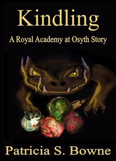 "A dragon climbs over the wrapped presents in the cover for the holiday novella ""Kindling"""