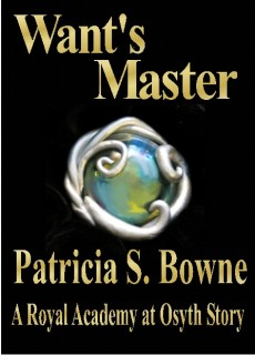 "Restless colors swirl through a moonstone brooch in the cover of Novella ""Want's Master."""