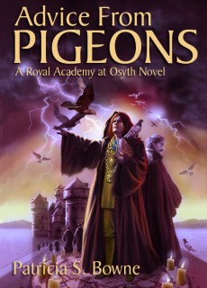 "A young magician holds tight to his grimoire on the cover of ""Advice From Pigeons,"" the first Royal Academy novel."
