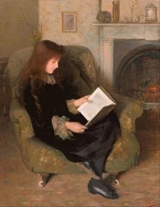 girl reading by fireside