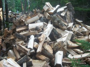 pile of split stovewood