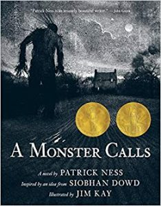 Cover of 'A Monster Calls' by Patrick Nss; monster striding through the darkness toward a house.